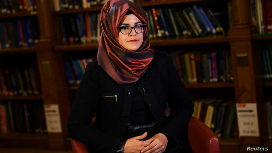 Hatice Cengiz, fiancee of slain Saudi journalist Jamal Khashoggi, is seen during an interview with Reuters in London, Britain, Oct. 29, 2018.