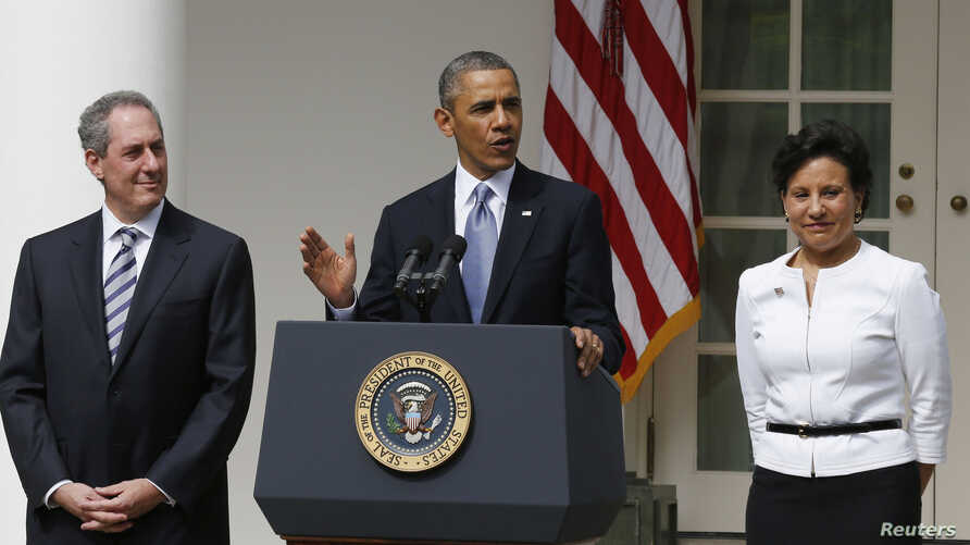 U.S. President Barack Obama announces Penny Pritzker (R) as his new nominee for the U.S. Secretary of Commerce and Michael Froman (L) as his nominee for U.S. Trade Representative while in the Rose Garden at the White House in Washington, May 2, 2013.