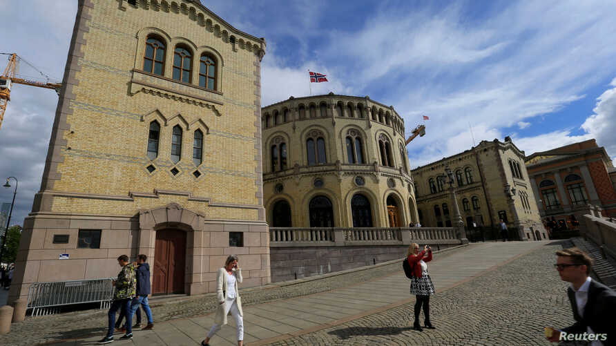FILE - Norway's parliament seen in Oslo, May 31, 2017.