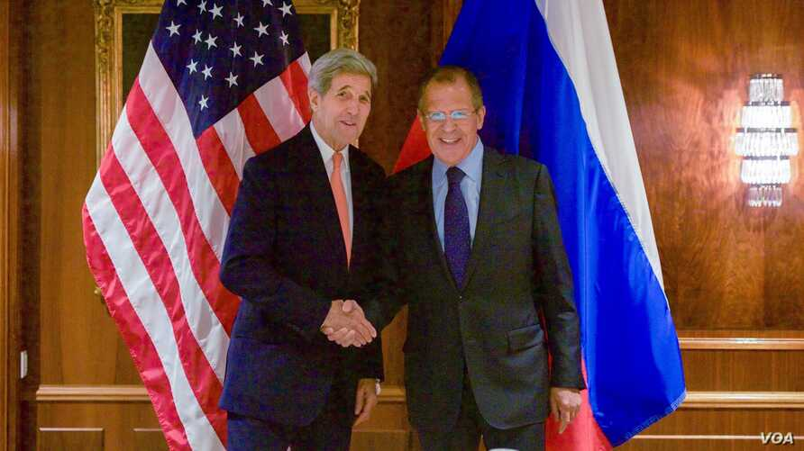 U.S. Secretary of State John Kerry shakes hands with Foreign Minister Sergey Lavrov on Oct. 23, 2015, at the Imperial Hotel in Vienna, Austria, before a bilateral meeting focused on Syria.