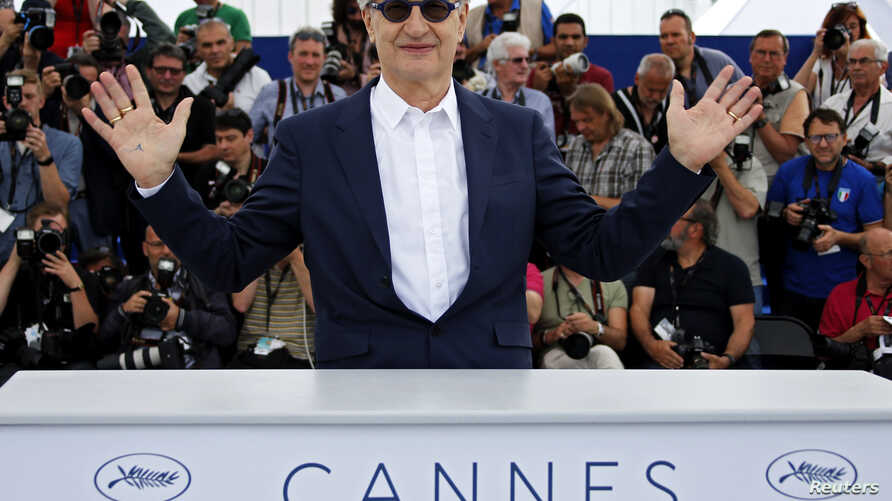 "German director Wim Wenders poses during a photocall for his documentary film ""Pope Francis: A Man of His Word"" at the 71st Cannes Film Festival, in Cannes, France, May 13, 2018."
