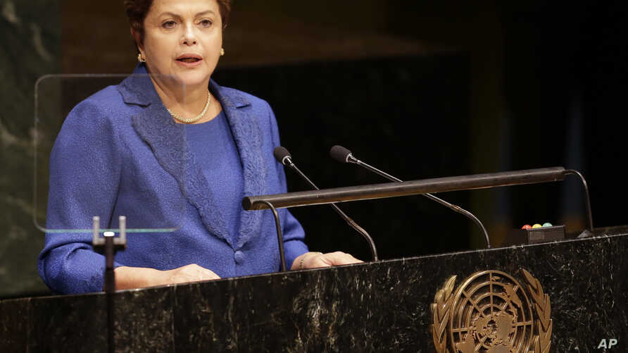 Dilma Roussef, president of Brazil, speaks during the 69th session of the United Nations General Assembly at U.N. headquarters, Sept. 24, 2014.