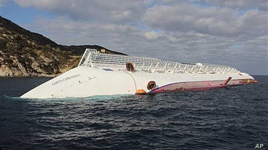 Costa Concordia after running aground on the tiny Tuscan island of Giglio, Italy, Jan. 17, 2012.