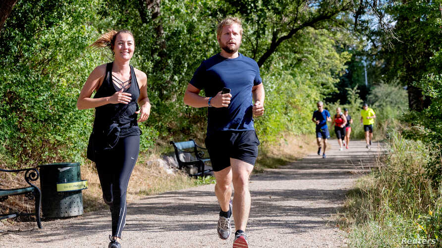 """First female journalist to receive the Kim Wall Scholarship Anne Kirstine Hermann participates in the """"Run for Kim"""", in Copenhagen, Denmark Aug. 10, 2018. In memory of the murdered Swedish journalist Kim Wall there are memorial runs in Paris, Beijing"""