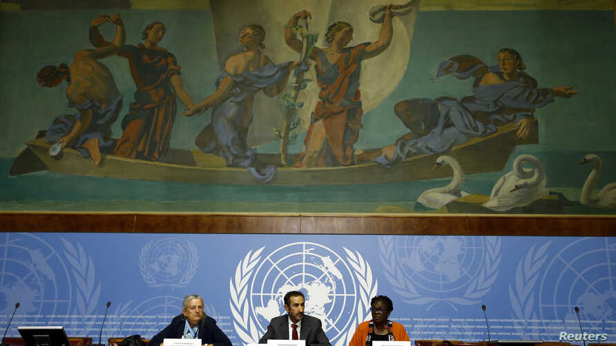 FILE - (L-R) Francoise Hampson, Fatsah Ouguergouz and Reine Alapini Gansou, members of the UN Commission of inquiry on Burundi attend a news conference at the United Nations Office in Geneva, Sept. 4, 2017.
