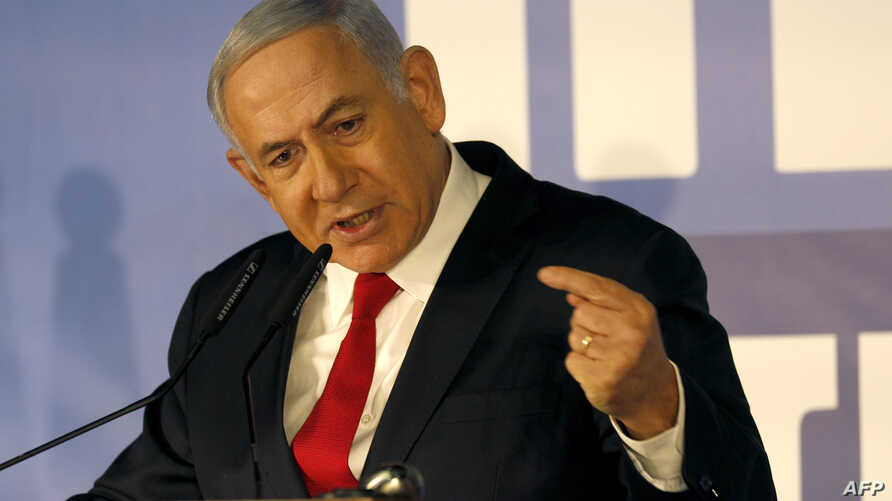 Israeli Prime Minister Benjamin Netanyahu delivers a statement to reporters on Feb. 28, 2019, in Jerusalem. Israel's attorney general announced Thursday that he intended to indict the prime minister on charges of bribery, fraud and breach of trust. N