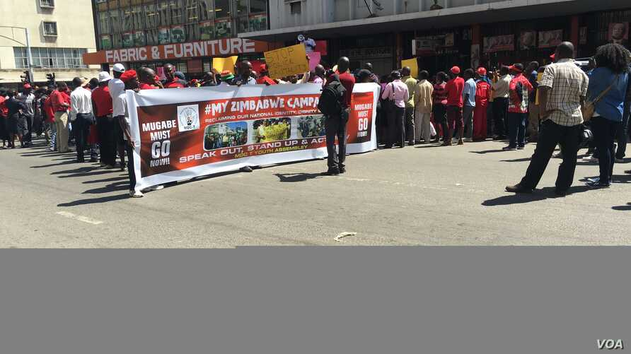 """""""President Robert Mugabe must go!"""" shouted protesters. The opposition accuses the 92-year-old leader of ruining the once vibrant economy of Zimbabwe and disregarding human rights. (Photo: Columbus Mavhunga for VOA)"""