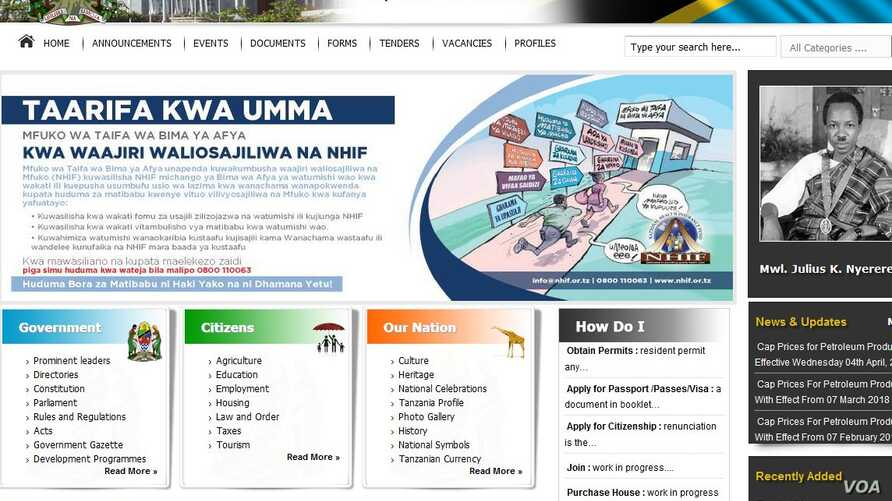 A screenshot of Tanzania's government online website, April 24, 2018.