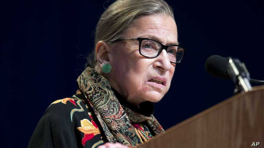 FILE - In this Jan. 28, 2016 file photo, Supreme Court Justice Ruth Bader Ginsburg speaks at Brandeis University in Waltham, Massachusetts. Ginsburg said she regretted comments on Republican presidential candidate Donald Trump.