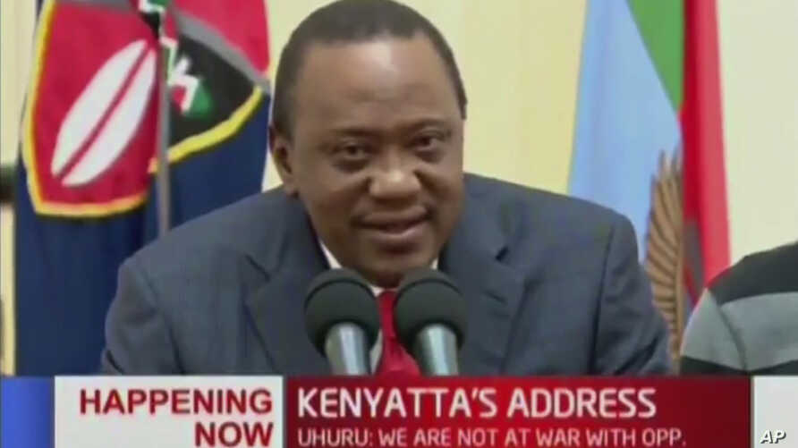 Kenya's President  Uhuru Kenyatta speaks to the nation in this image taken from TV, Sept. 1, 2017.