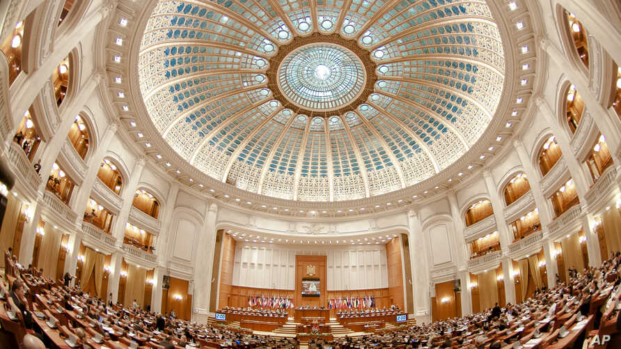 FILE - The interior of Romania's parliament building is seen in Bucharest, Romania, Oct. 10, 2011.