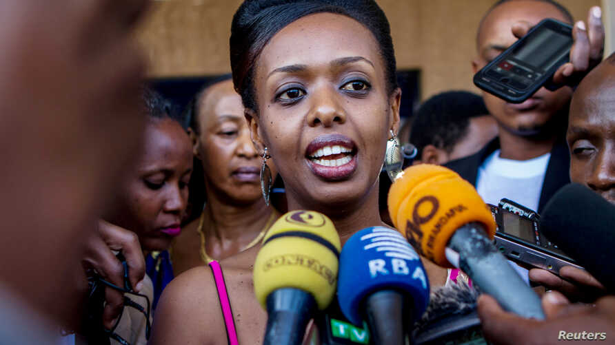 FILE - Diane Shima Rwigara, a leading critic of Rwanda's president, speaks to the media in Kigali, Rwanda, June 20, 2017.