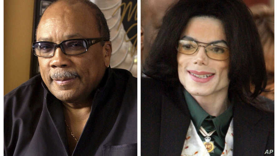 In this combination photo, Quincy Jones appears at his home in Los Angeles, Calif., on April 9, 2004, left, and  Michael Jackson arrives to court on March 2, 2005, in Santa Maria, Calif.