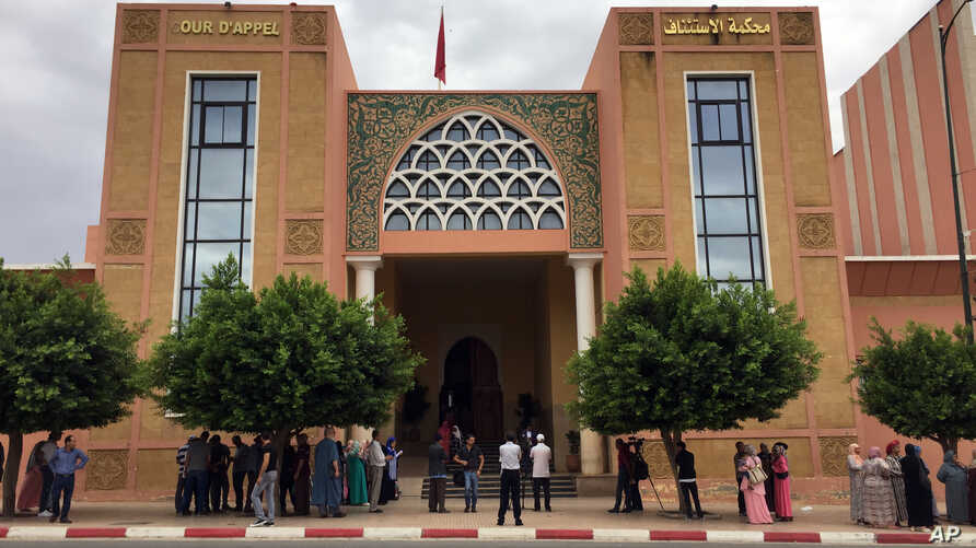 FILE - This Sept. 6, 2018, picture shows the courthouse in Beni Mellal, Morocco. A 17-year-old Moroccan girl whose alleged gang-rape sparked a public outcry has confronted in court the only underage suspect among the 12 men accused of assaulting and