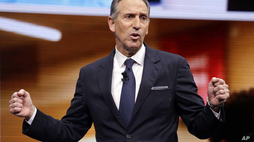 FILE - Howard Schultz, CEO of Starbucks at the time, speaks at the Starbucks annual shareholders meeting in Seattle, Washington, March 22, 2017.