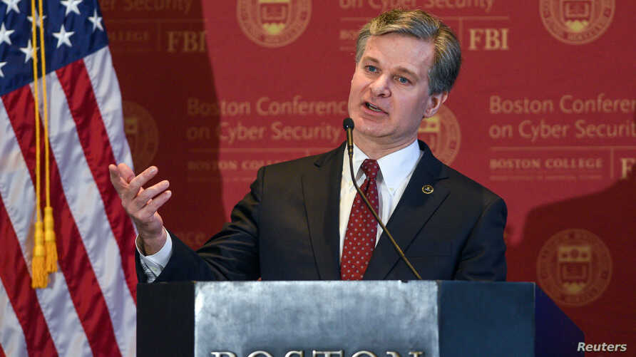 FBI Director Christopher Wray speaks at the 2018 Boston Conference on Cybersecurity at Boston College, in Boston, Massachusetts, March 7, 2018.
