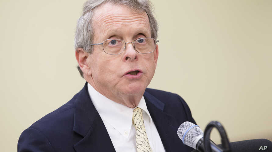 Ohio Attorney General Mike DeWine speaks during a news conference, Feb. 12, 2016, in Cincinnati. DeWine filed a lawsuit Wednesday against five drug prescription drug manufacturers, saying their deceptive practices fueled the opioid epidemic.