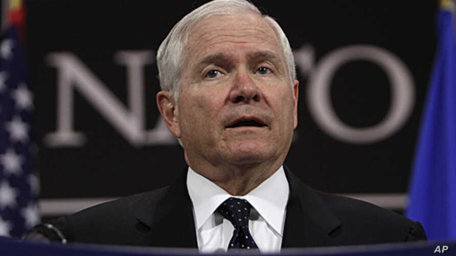 US Defense Secretary Robert Gates speaks during a media conference after a meeting of NATO defense ministers at NATO headquarters in Brussels, June 9, 2011.
