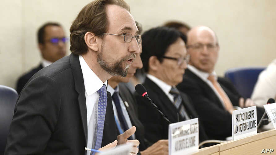 United Nations High Commissioner for Human Rights Zeid Ra'ad Al Hussein speaks during the opening of the 38th session of the U.N. Human Rights Council in Geneva, Switzerland, June 18, 2018.