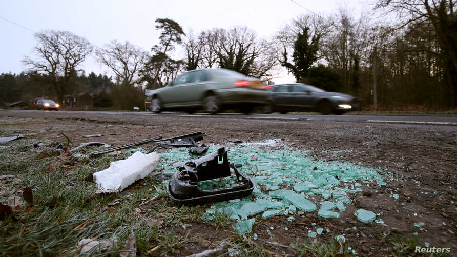 Debris is shown at the scene where Britain's Prince Philip was involved in a traffic accident, near the Sandringham estate in eastern England, Britain, January 18, 2019. REUTERS/Chris Radburn - RC1A0D921210