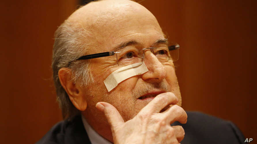 Suspended FIFA President Sepp Blatter attends a news conference in Zurich, Switzerland, Dec. 21, 2015, after he was banned for 8 years from all football related activities.