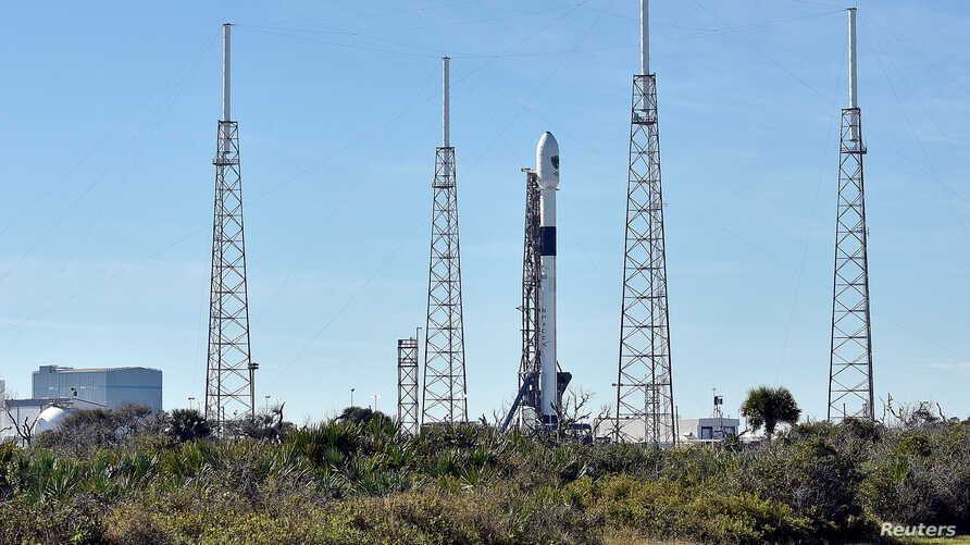 The SpaceX Falcon 9 rocket, scheduled to launch a U.S. Air Force navigation satellite, sits on Launch Complex 40, Florida, U.S., December 18, 2018.
