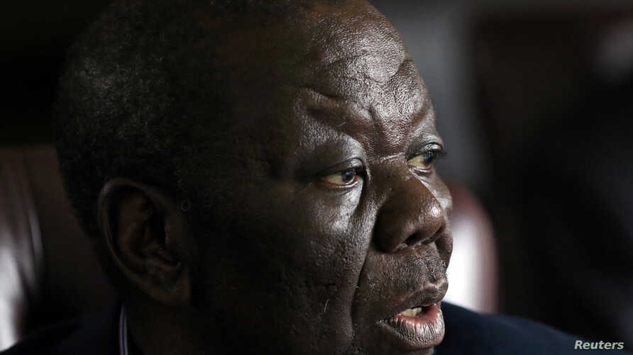 Morgan Tsvangirai, leader of the opposition party Movement for Democratic Change (MDC), speaks at a media conference in Harare, Zimbabwe, Nov. 16, 2017.
