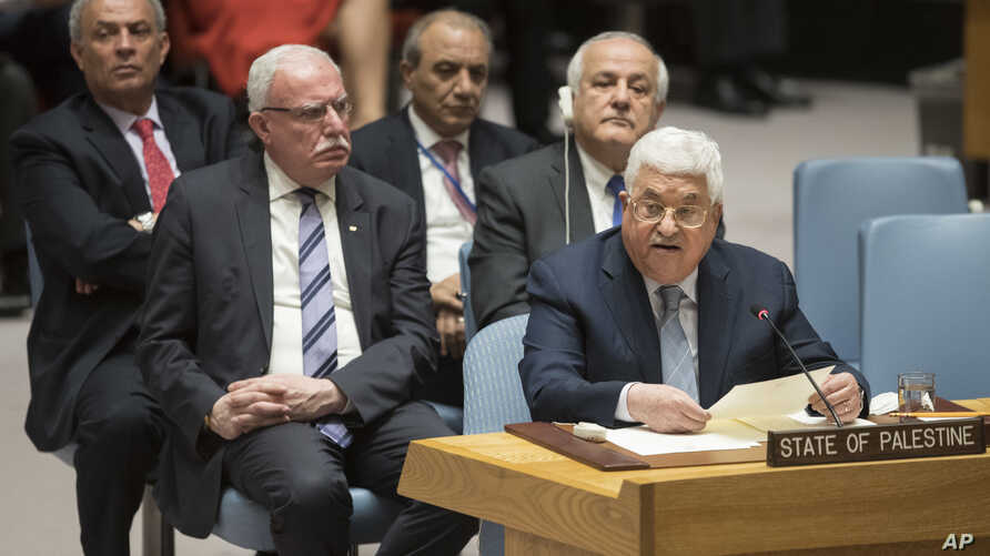 Palestinian President Mahmoud Abbas speaks during a Security Council meeting on the situation in Palestine, Tuesday, Feb. 20, 2018 at United Nations headquarters.