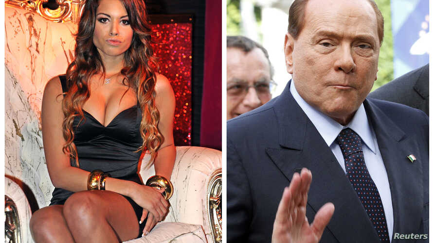 FILE - A combination photo shows Karima El Mahroug of Morocco at the Karma disco in Milan, Nov. 14, 2010, and Italy's former PM Silvio Berlusconi in Brussels, Belgium, June 28, 2012.