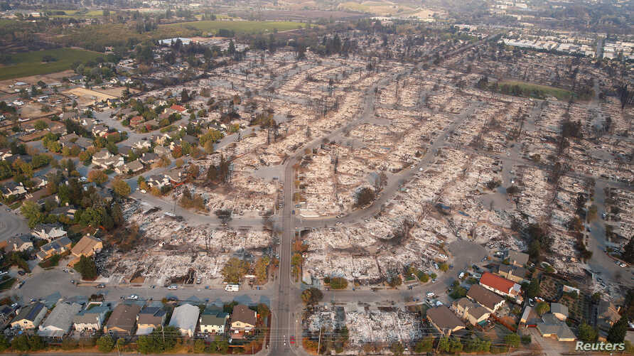 An aerial view of properties destroyed by the Tubbs Fire is seen in Santa Rosa