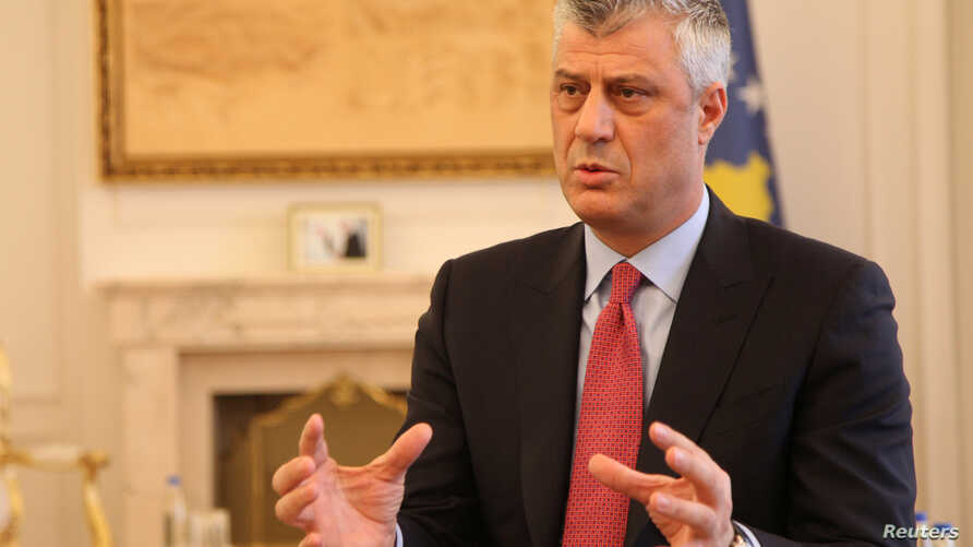 Kosovo's President Hashim Thaci gives an interview in his office in Kosovo's capital Pristina, Jan. 16, 2017.