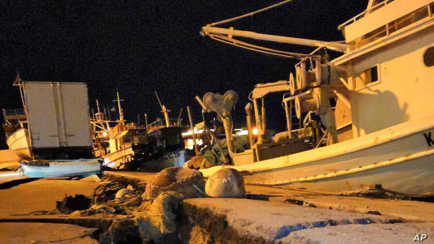 Damages are seen at the port of the western island of Zakynthos, Greece, Oct. 26, 2018. A predawn earthquake with a magnitude of 6.8 struck off the western Greek tourist island of Zakynthos in the Ionian Sea, but authorities say there have been no im