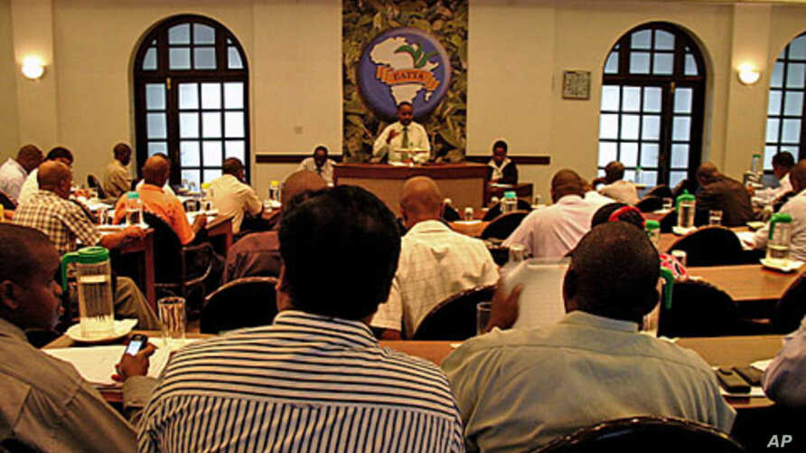 Etiquette in the auction room is strict, with ties required for brokers and collared shirts for buyers, at the Mombasa Tea Auction in Mombasa, Kenya, February 14, 2012.