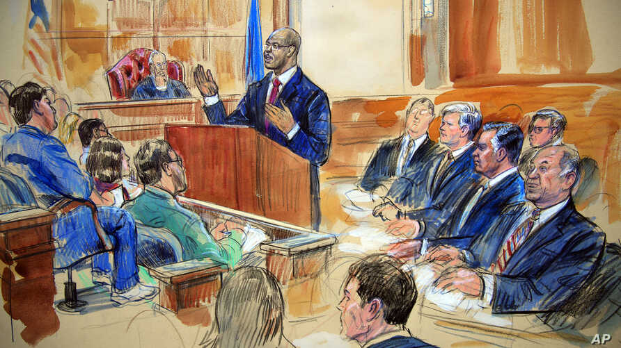 Courtroom sketch depicts Paul Manafort, seated right row second from right, together with his lawyers, the jury, seated left, listening to Assistant U.S. Attorney Uzo Asonye, standing, during opening arguments in the trial of President Donald Trump's