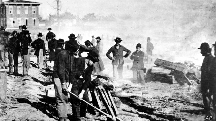 AMERICAN CIVIL WAR UNION ARMY TROOPS RAILROAD TRACKS MARCH TO THE SEA