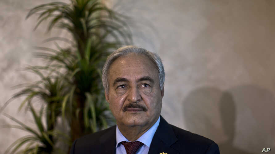 FILE - Gen. Khalifa Hifter, military chief of Libya's internationally recognized government, shown in Amman, Jordan, Aug. 24, 2015.