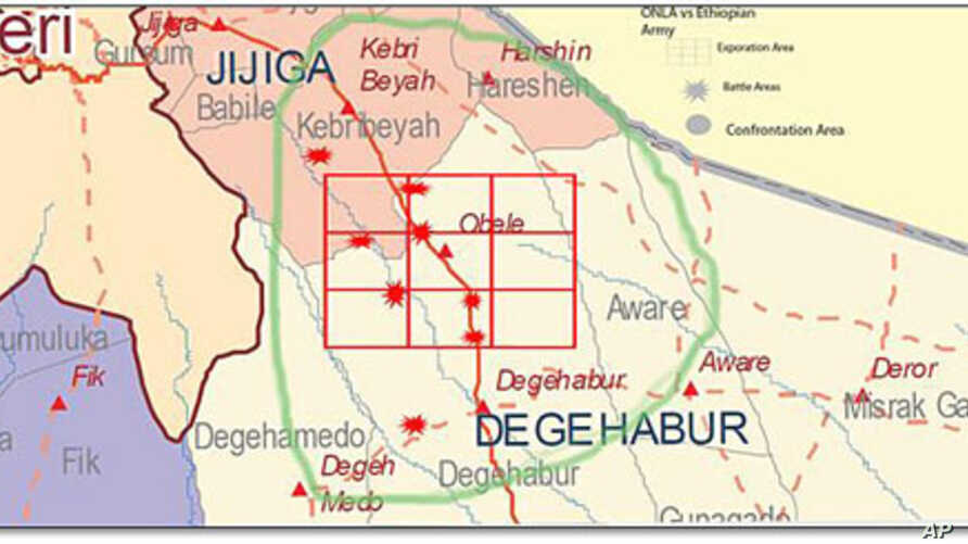 This map of the area where clashes took place was sent as part of a communique issued by ONLF rebels announcing the clash, September 2, 2011.