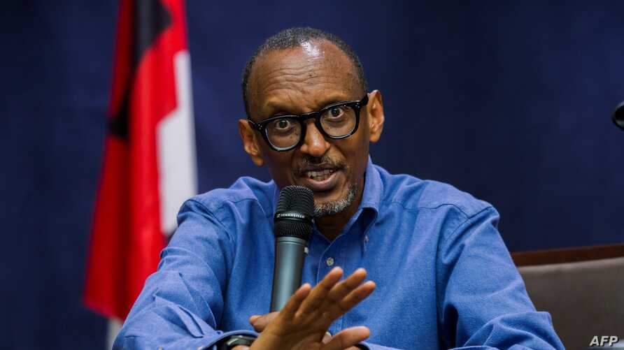 Rwanda's President and RPF Chairman Paul Kagame gives a press conference after presenting his credentials as presidential candidate for the upcoming elections in Kigali, June 22, 2017.