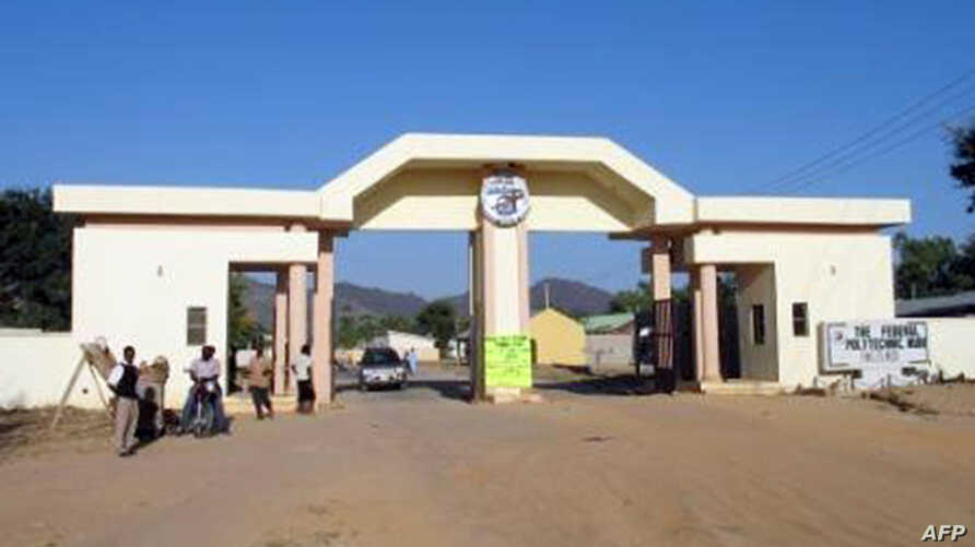 An undated picture released on the Mubi Federal Polytechnic school website shows the entrance of the premises in Mubi, northeast Nigeria.
