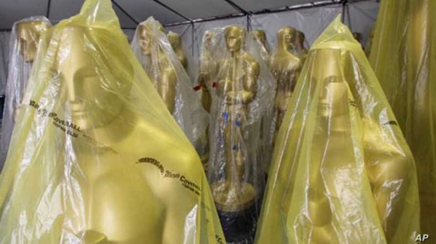 Oscar statues stored in a tent during preparations for the 83rd annual Academy Awards in Hollywood. The Oscars will be presented this Sunday.