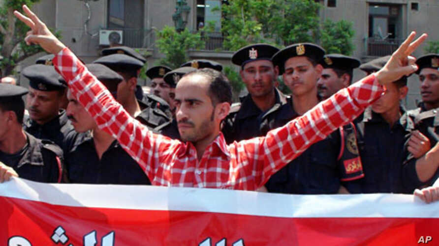 Protester demands peaceful changes to Egypt's security and election laws, Cairo, 03  May 2010