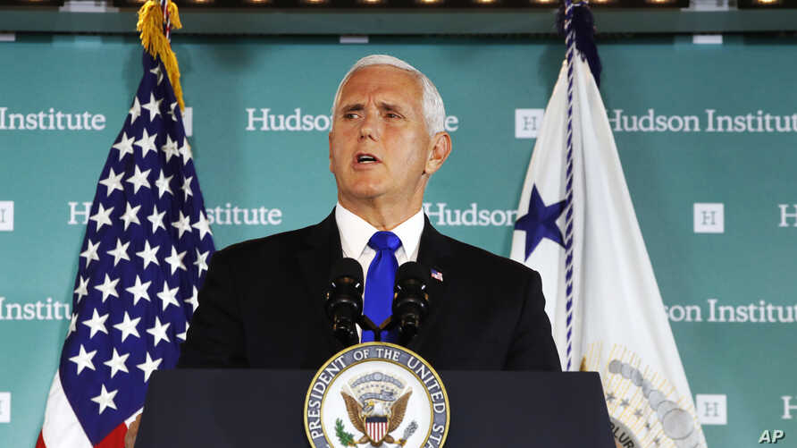 Vice President Mike Pence speaks, Oct. 4, 2018, at the Hudson Institute in Washington.