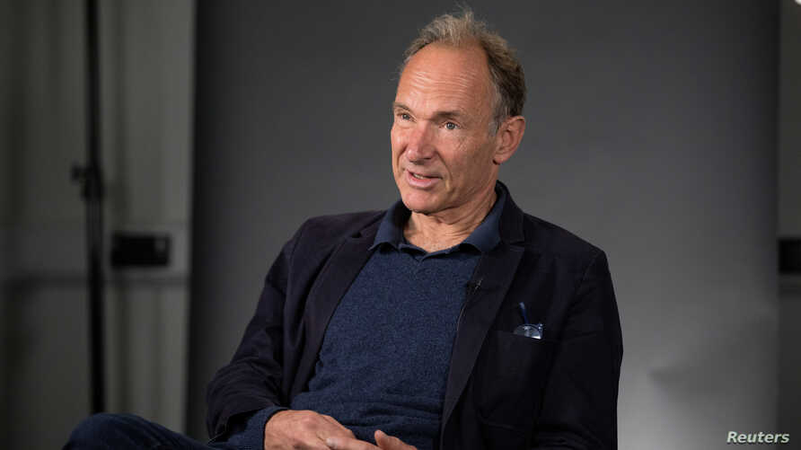 FILE - World Wide Web founder Tim Berners-Lee speaks during an interview at the Mozilla Festival 2018 in London, Oct. 27, 2018.