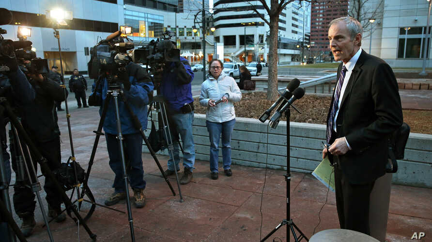 Attorney Robert Pepin, public defender for Shannon Conley, speaks to reporters following Conley's sentencing hearing at the U.S. Courthouse in Denver, Jan. 23, 2015.