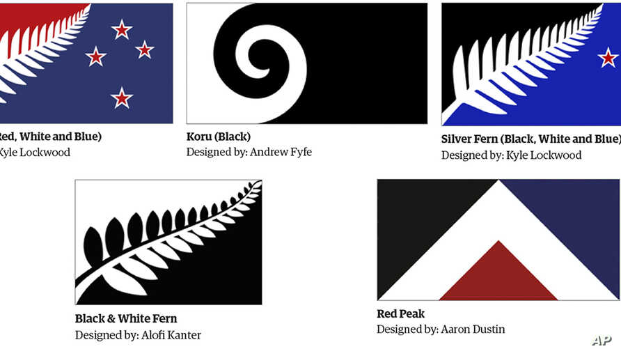 This combination of images made on Sept. 24, 2015, from an image released Aug. 11, 2015, by the New Zealand Flag Consideration Project shows five designs which are finalists being considered as the new flag for New Zealand in Wellington, New Zealand.