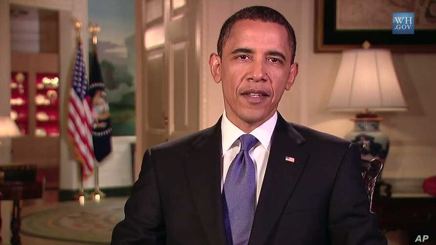 US President Barack Obama delivers his weekly address for the Memorial Day holiday weekend, 29 May 2010
