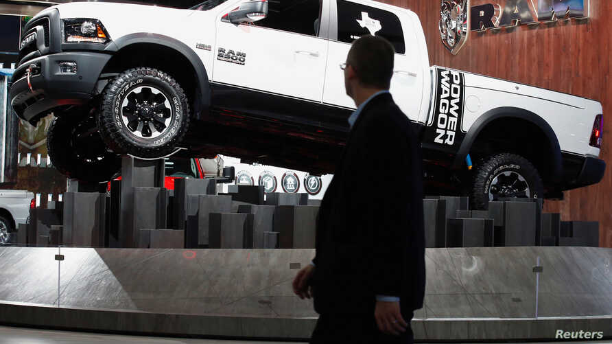 The Dodge Ram pickup truck is displayed during the North American International Auto Show in Detroit, Michigan, Jan. 10, 2017.
