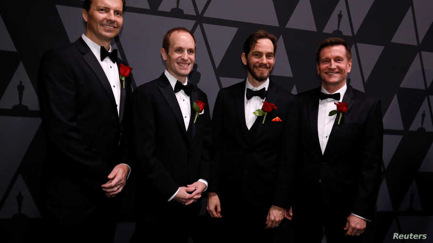 John Lynch (from left), Mark Tucker, Jeff Lait and Cristin Barghiel, recipients of Scientific and Engineering Award for Houdini visual effects and animation system, pose at the Scientific and Technical Awards presented by the Academy of Motion Pictur
