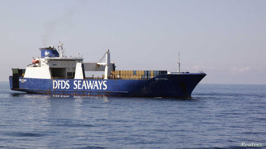 FILE - The Ark Futura, a Danish-chartered cargo vessel which is assisting in the effort to extract Syrian chemical weapons from the country, sails in the Eastern Mediterranean Sea.