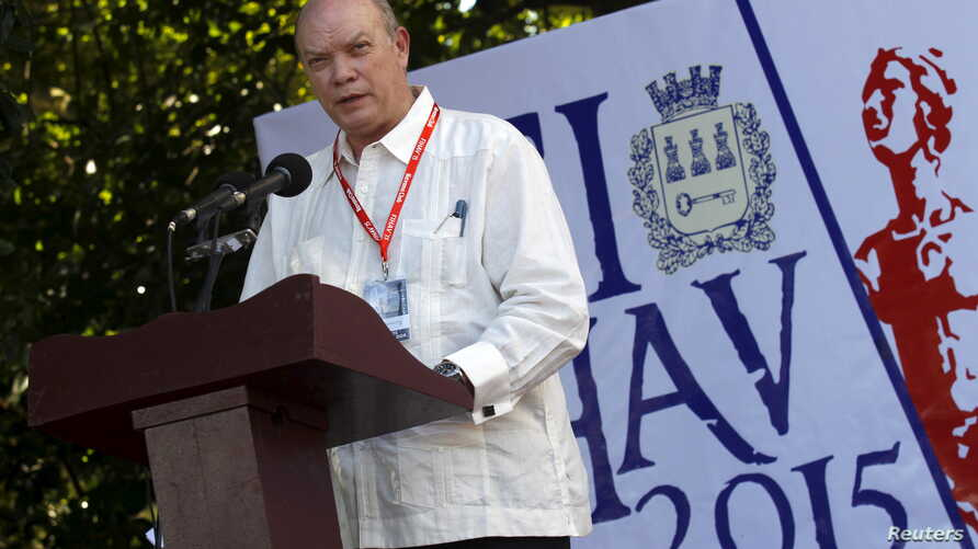 Cuba's Minister of Foreign Trade and Commerce Rodrigo Malmierca Diaz addresses the audience during the opening ceremony of the International Fair of Havana (FIHAV), in Havana, Nov. 2, 2015.